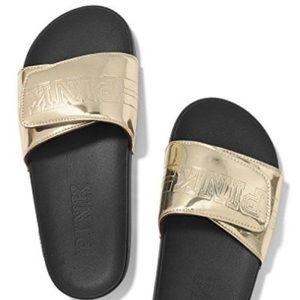 PINK | Victoria's Secret Gold Metallic Slides